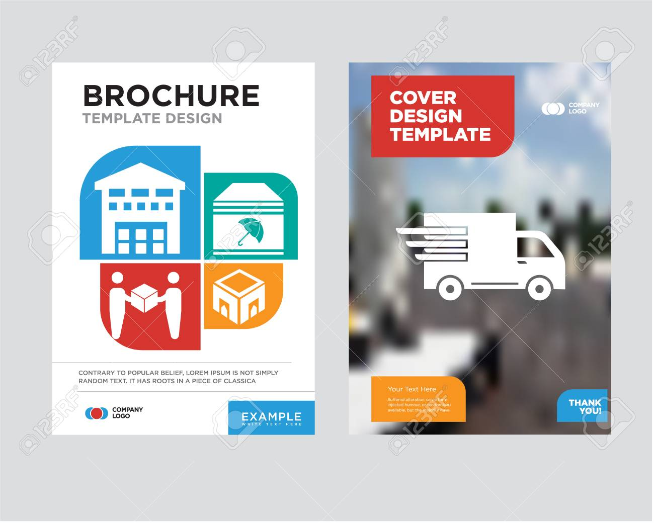 logistics delivery truck in movement brochure design template with