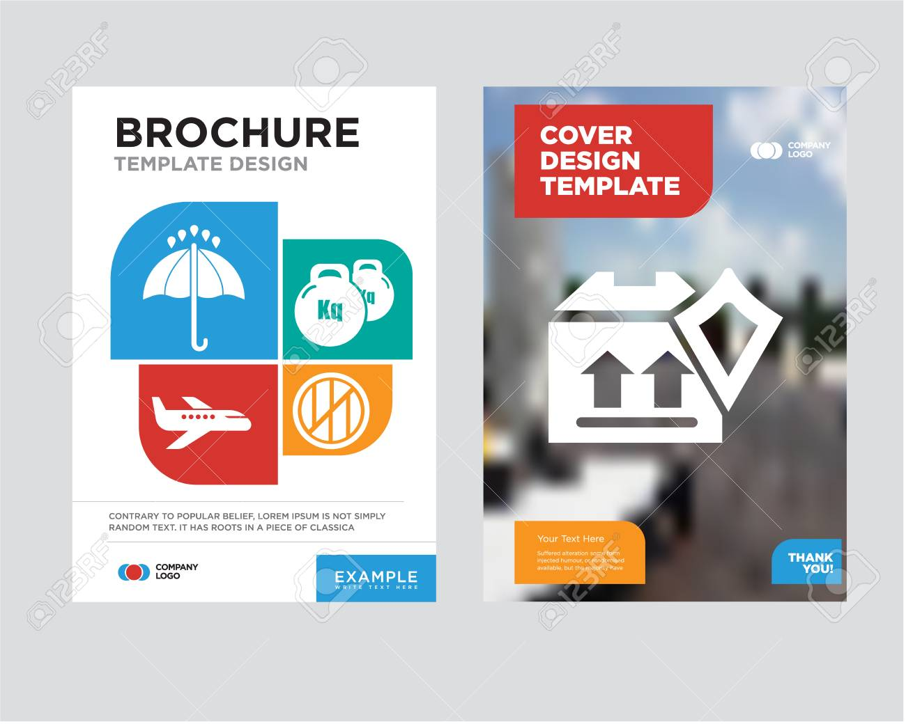 delivery pack security brochure flyer design template with abstract