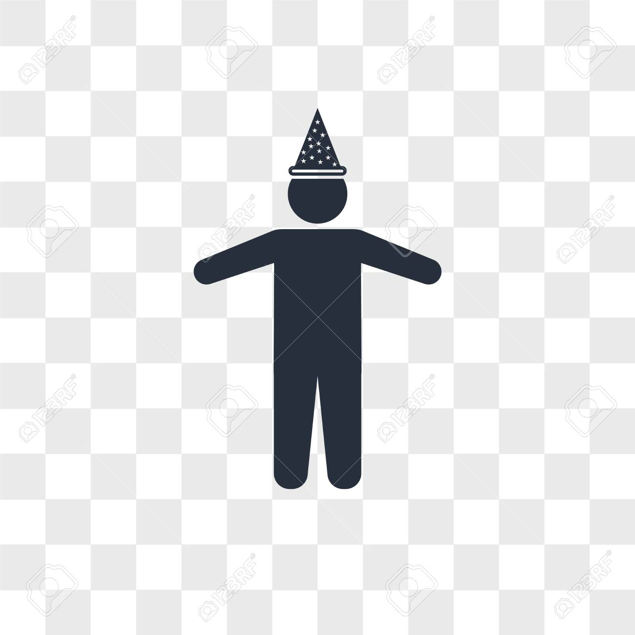 Man with birthday hat vector icon isolated on transparent background, Man with birthday hat logo concept - 150640938