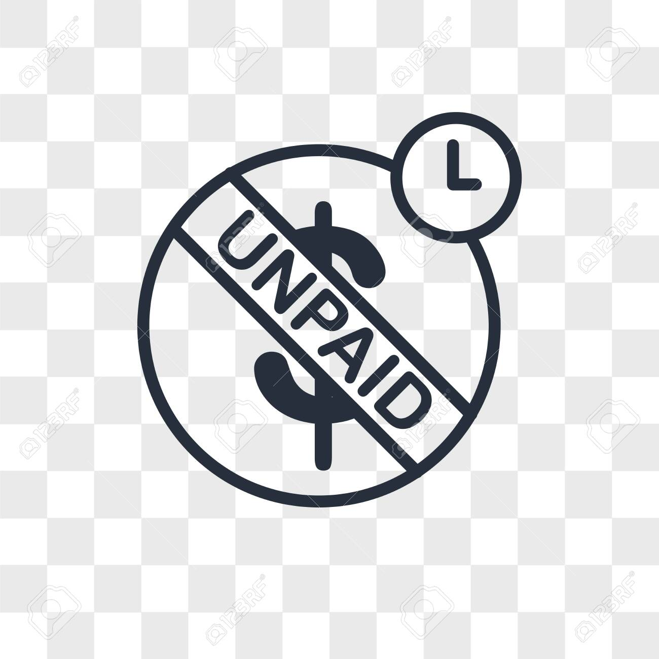 unpaid vector icon isolated on transparent background, unpaid logo concept - 150640955