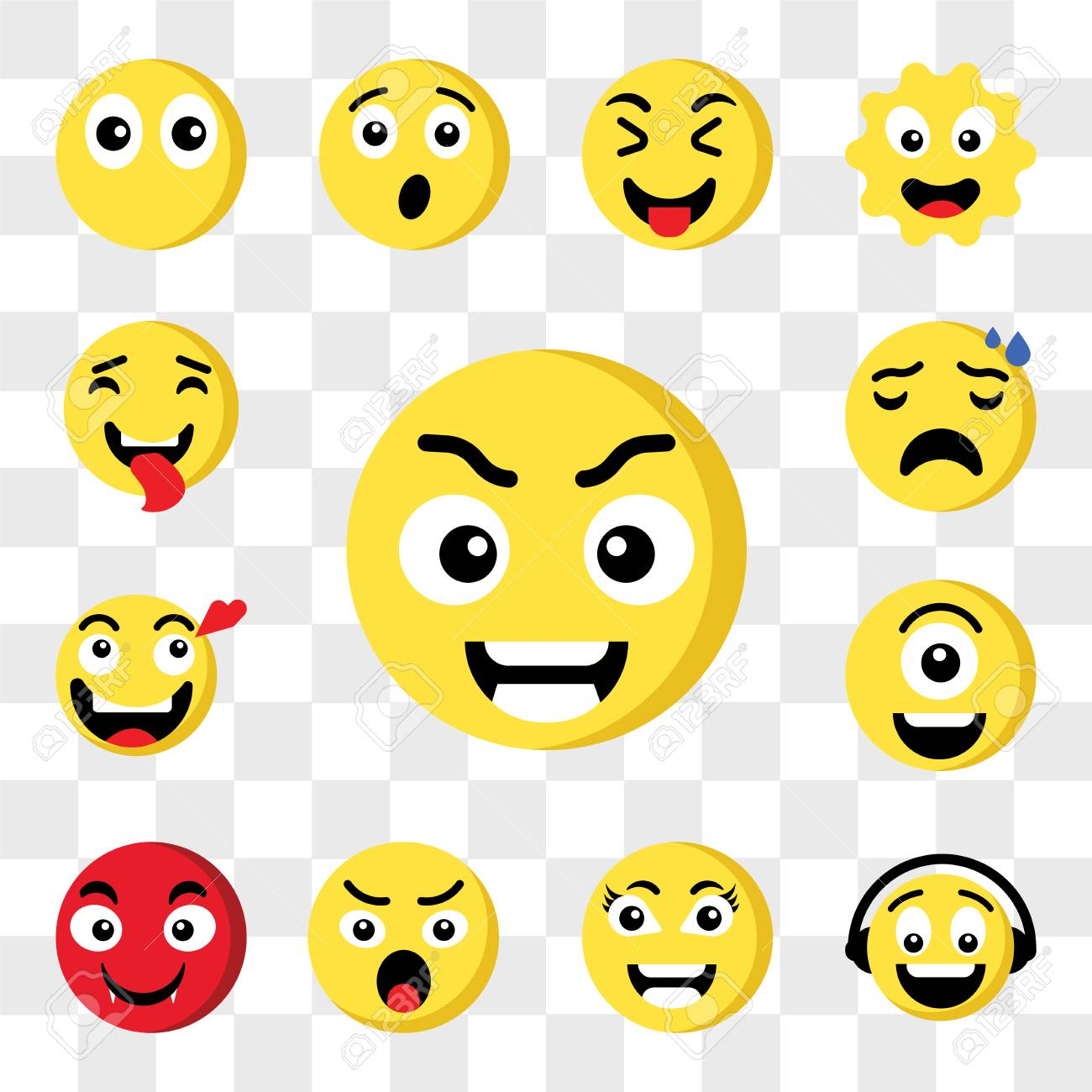 Set Of 13 transparent icons such as Smart emoji, Music Angry