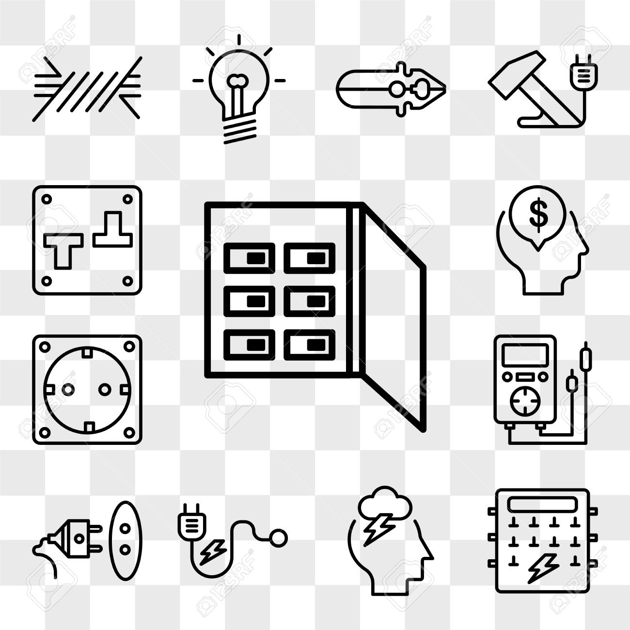 set of 13 transparent editable icons such as fuse box, storm, plug, socket