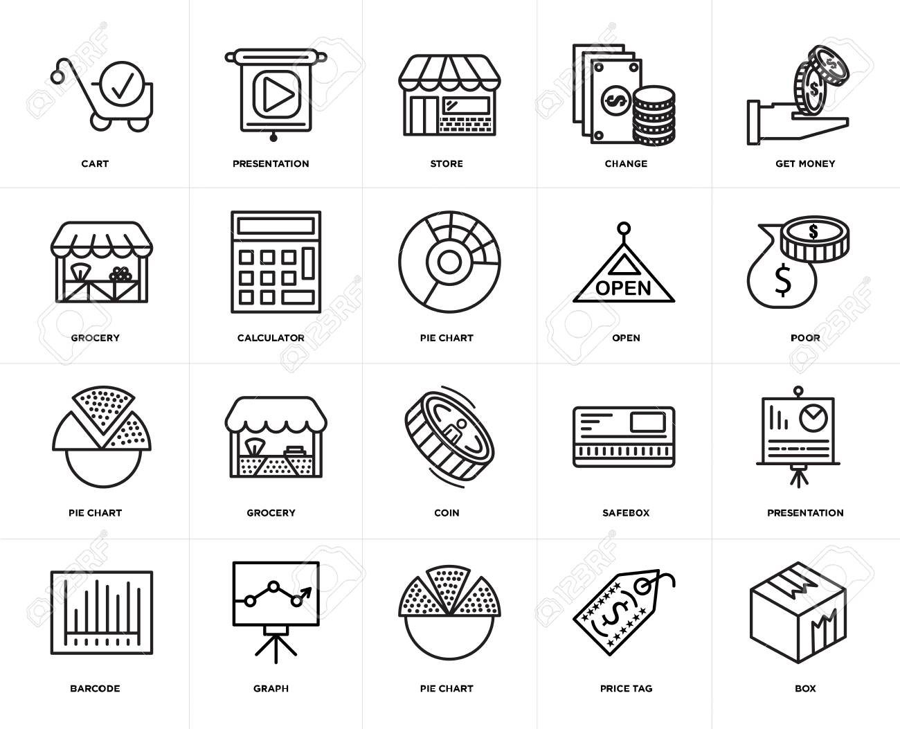 Set Of 20 icons such as Box, Price tag, Pie chart, Graph, Barcode, Get  money, Open, Coin, Calculator, Store, web UI editable icon pack, pixel  perfect