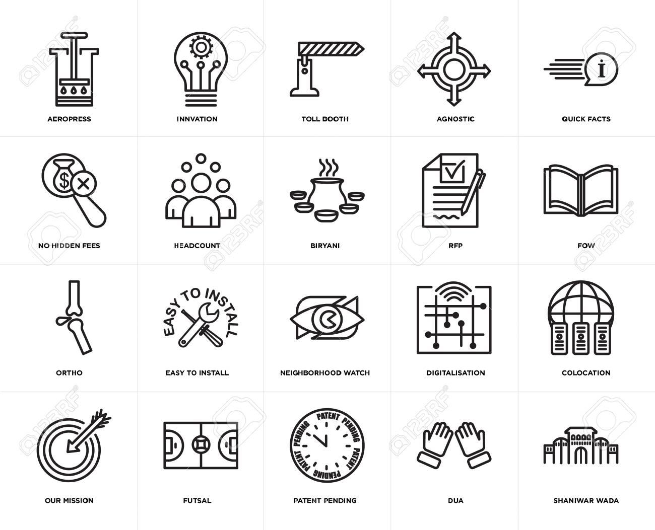 Set Of 20 icons such as shaniwar wada, dua, patent pending, futsal,