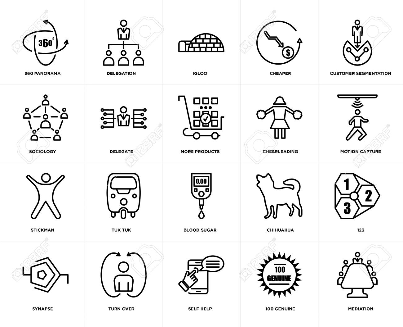 Set Of 20 simple editable icons such as mediation, motion capture,