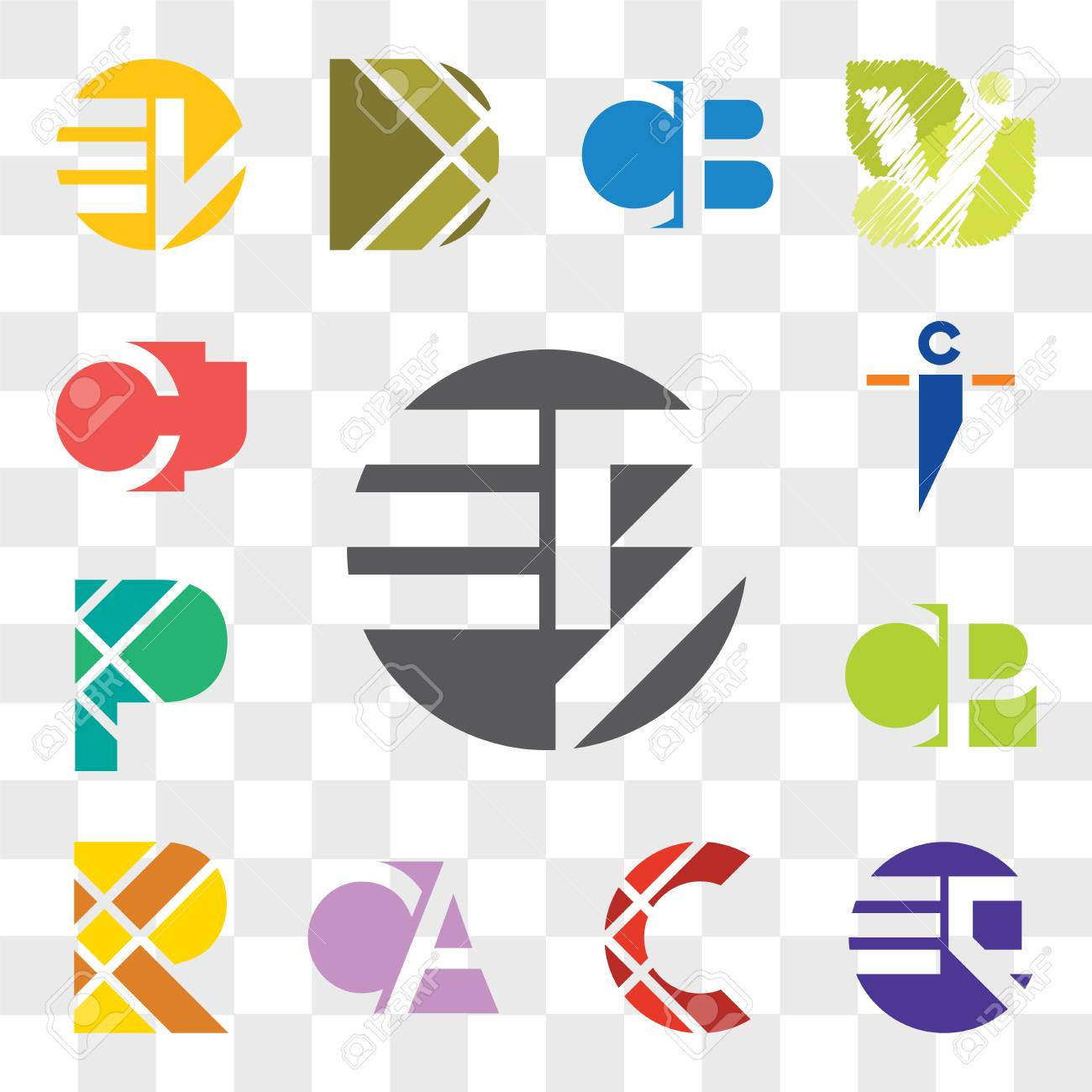 Set Of 13 transparent editable icons such as EB BE, EQ QE, C