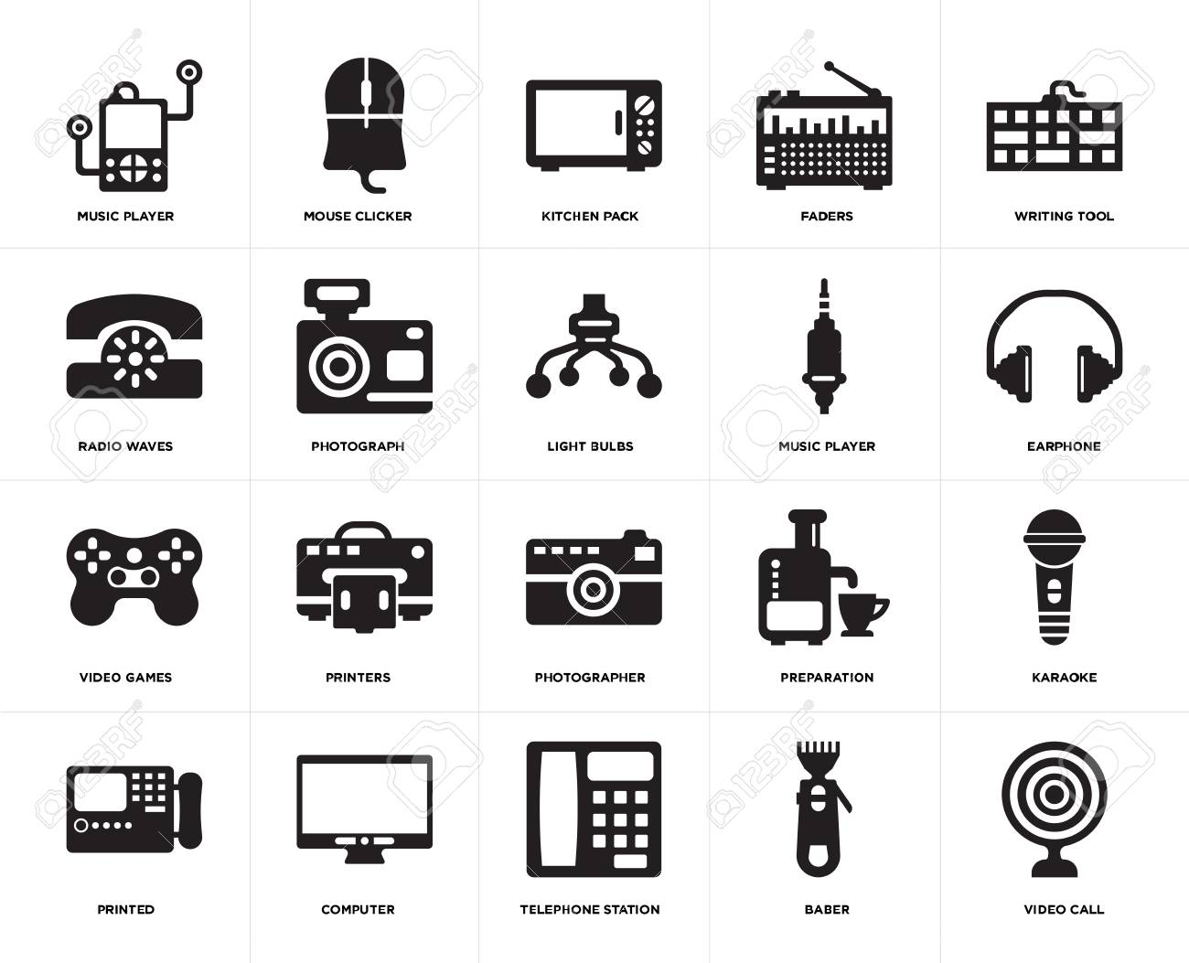 Set Of 20 Simple Editable Icons Such As Video Call Earphone