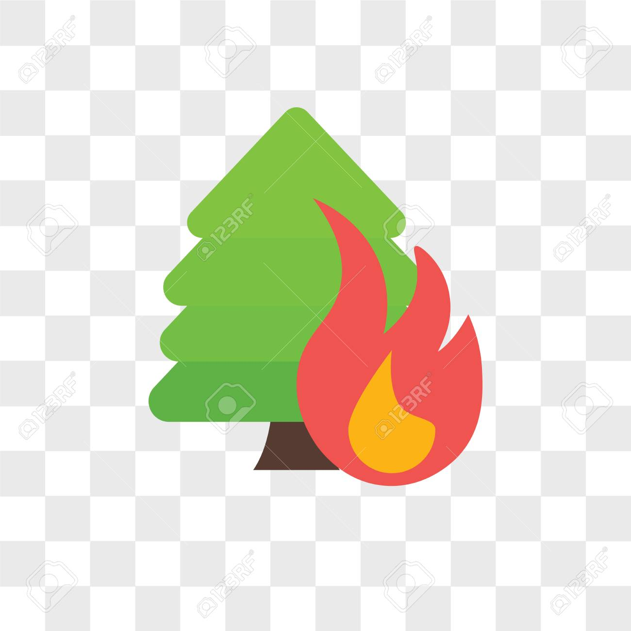Forest fire vector icon isolated on transparent background, Forest fire logo concept - 106758885