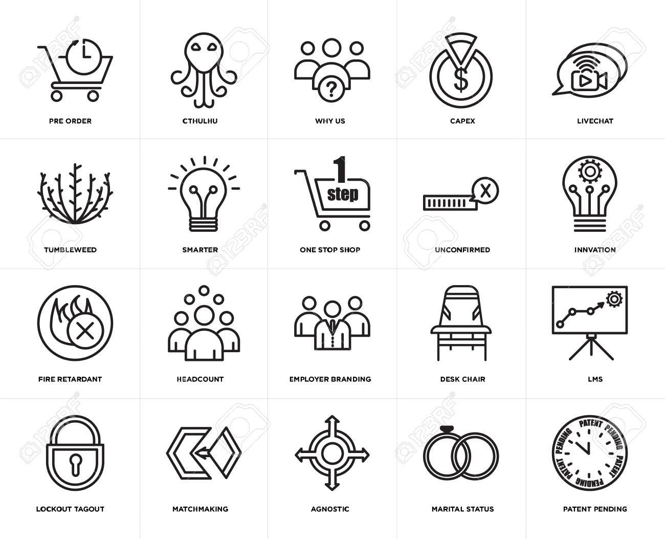 Set Of 20 simple editable icons such as patent pending, innvation,