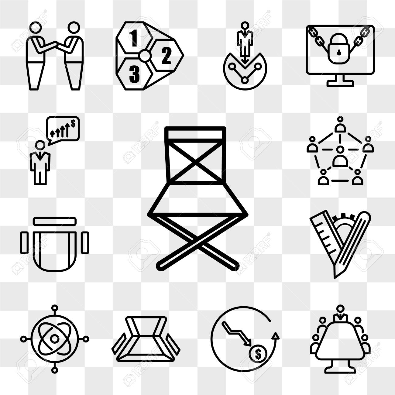 Set Of 13 transparent editable icons such as folding chair, mediation, cheaper, gyroscope, tailor made, chair top view, sociology, anticipation, web ui icon pack, transparency set - 111890913