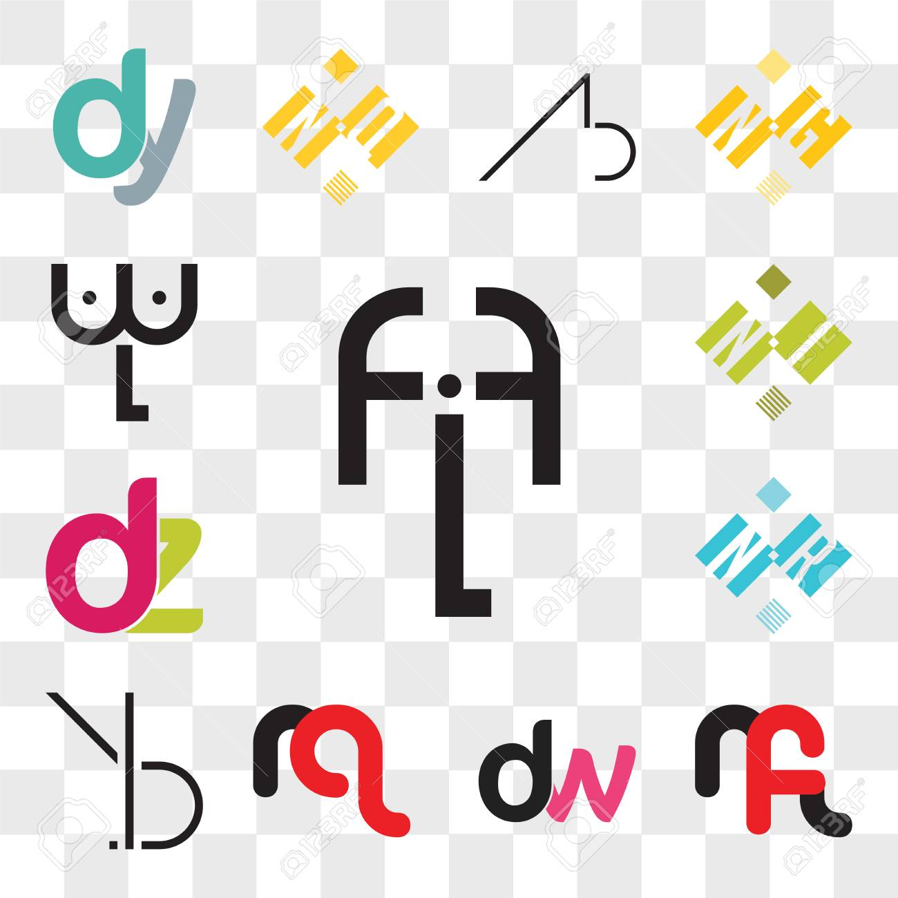 Set Of 13 transparent editable icons such as fLf, mf or fm, dw, wd, mq qm, BR, RB, NR RN, dz, zd, NI IN, wL, web ui icon pack, transparency set - 106769859