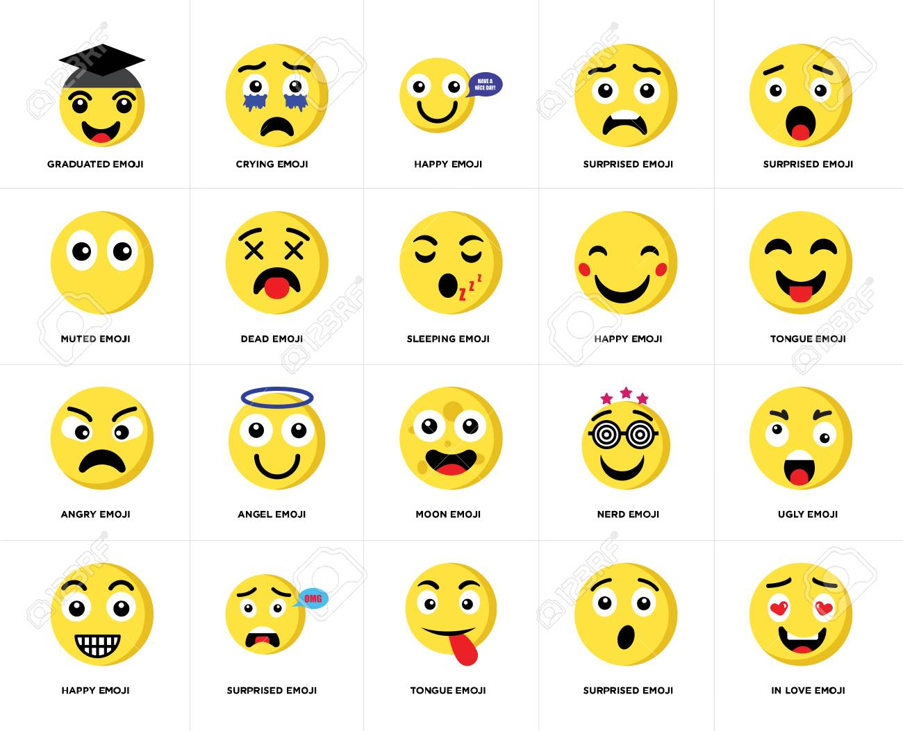 Set Of 20 simple editable icons such as In love emoji, Tongue