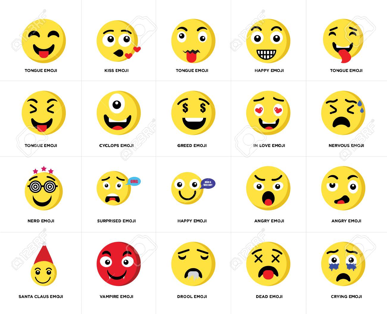 Set Of 20 simple editable icons such as Crying emoji, Nervous