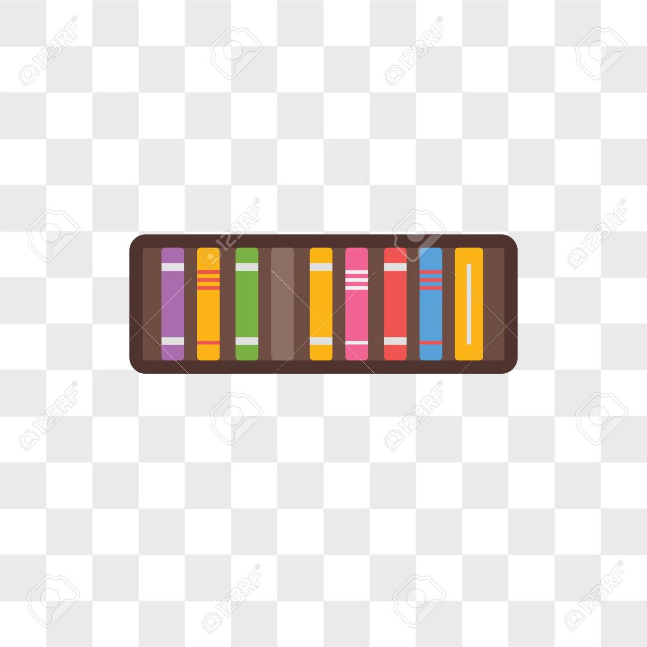 Bookshelf Vector Icon Isolated On Transparent Background
