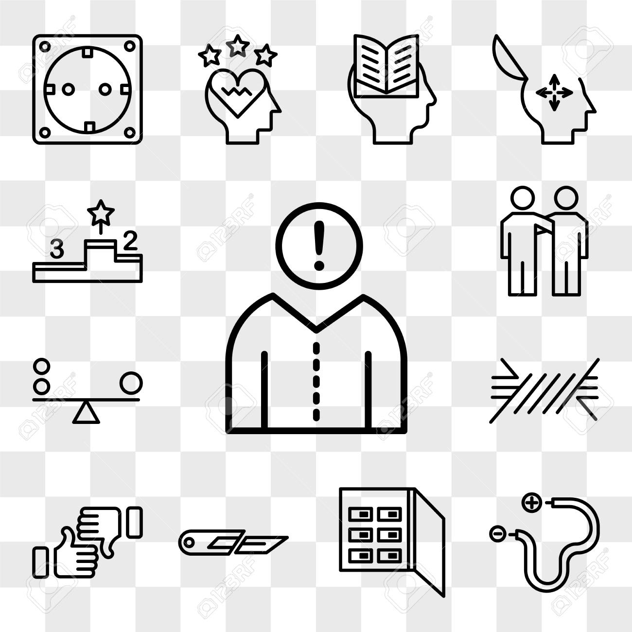 set of 13 transparent editable icons such as think, wire, fuse box, cutter
