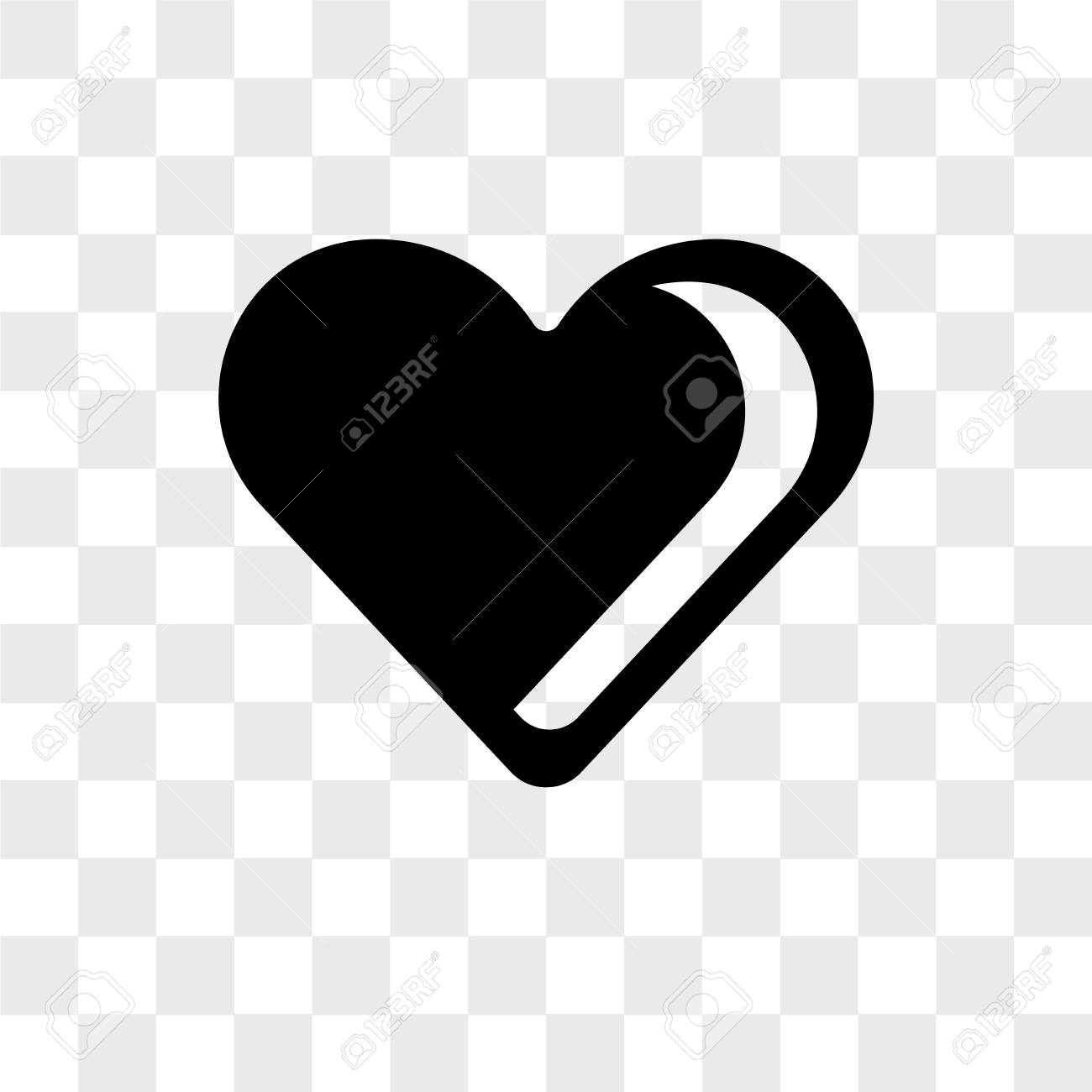 Black Heart Shaped Vector Icon Isolated On Transparent Background