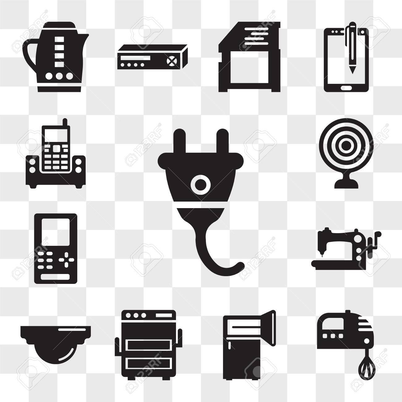 Set Of 13 Transparent Editable Icons Such As Gadget Kitchen