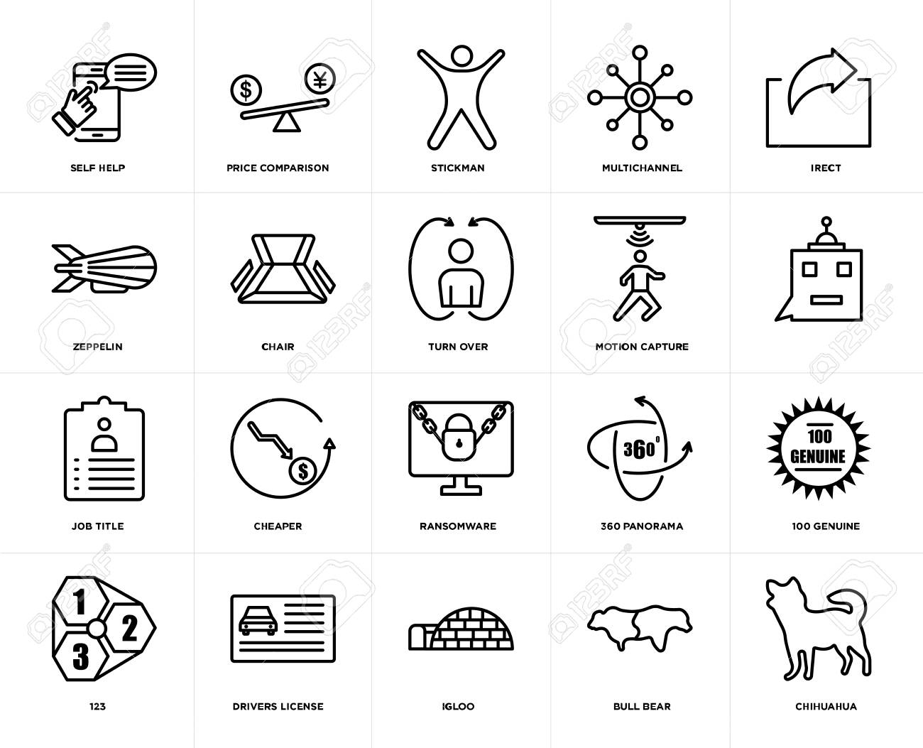 Set Of 20 icons such as chihuahua, bull bear, igloo, drivers license, 123, irect, motion capture, ransomware, job title, chair, stickman, web UI editable icon pack, pixel perfect - 111892234