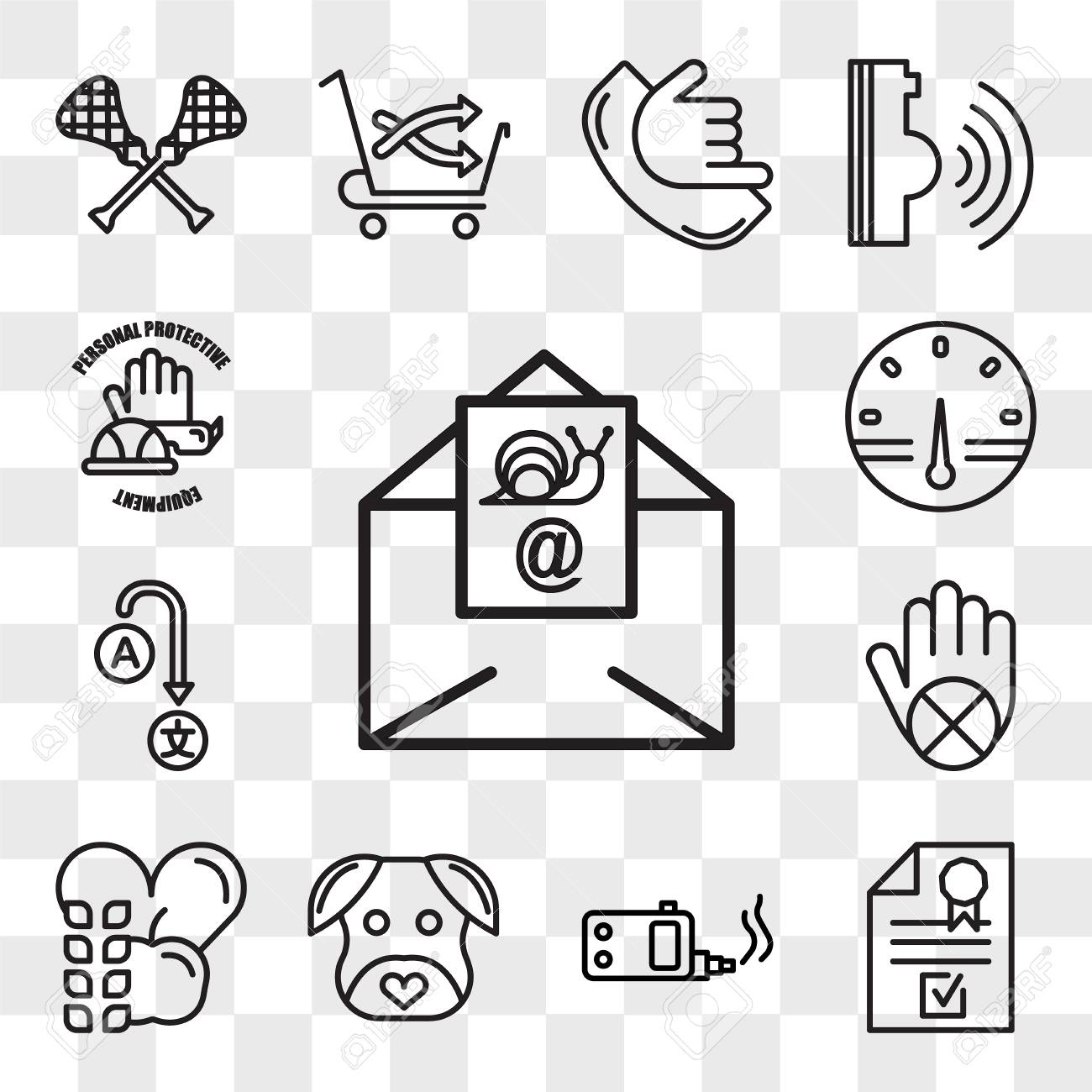 Set Of 13 transparent icons such as snail mail, company registration,