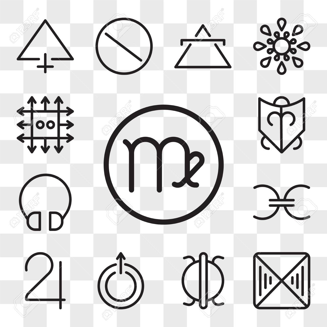 Set Of 13 Transparent Editable Icons Such As Virgo Fortitude