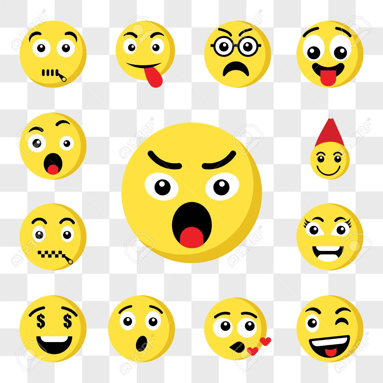 Set Of 13 Transparent Icons Such As Angry Emoji Wink Kiss Surprised