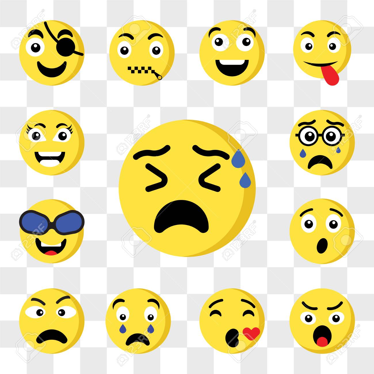Set Of 13 transparent icons such as Nervous emoji, Angry Kiss