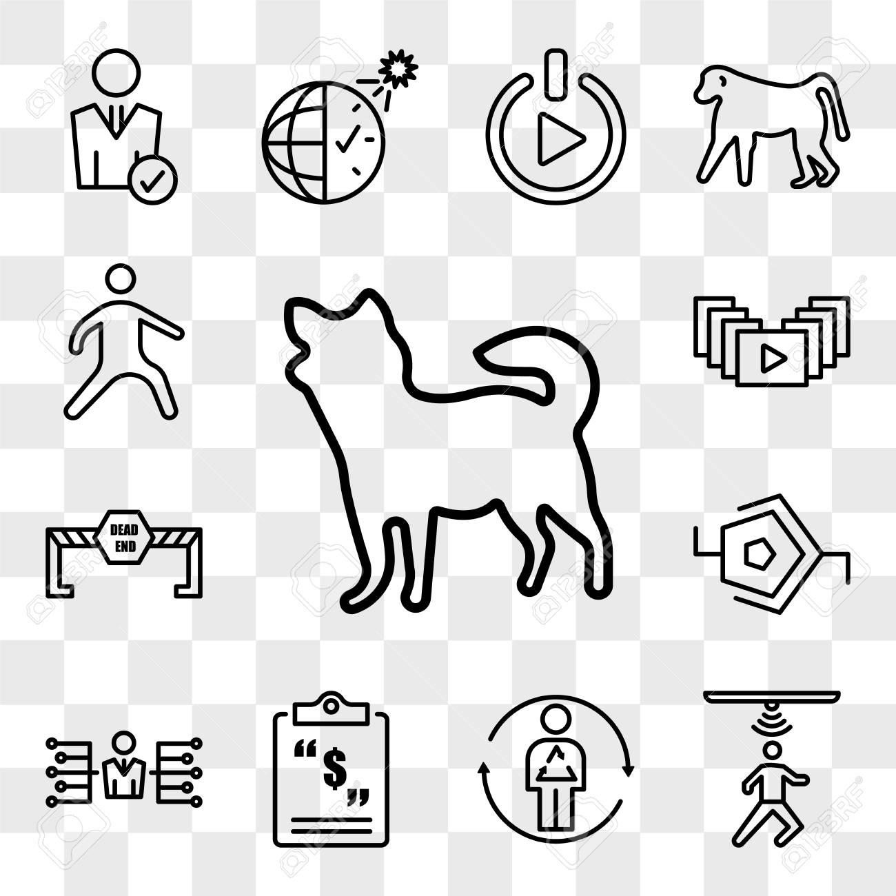 Set Of 13 transparent editable icons such as chihuahua, motion