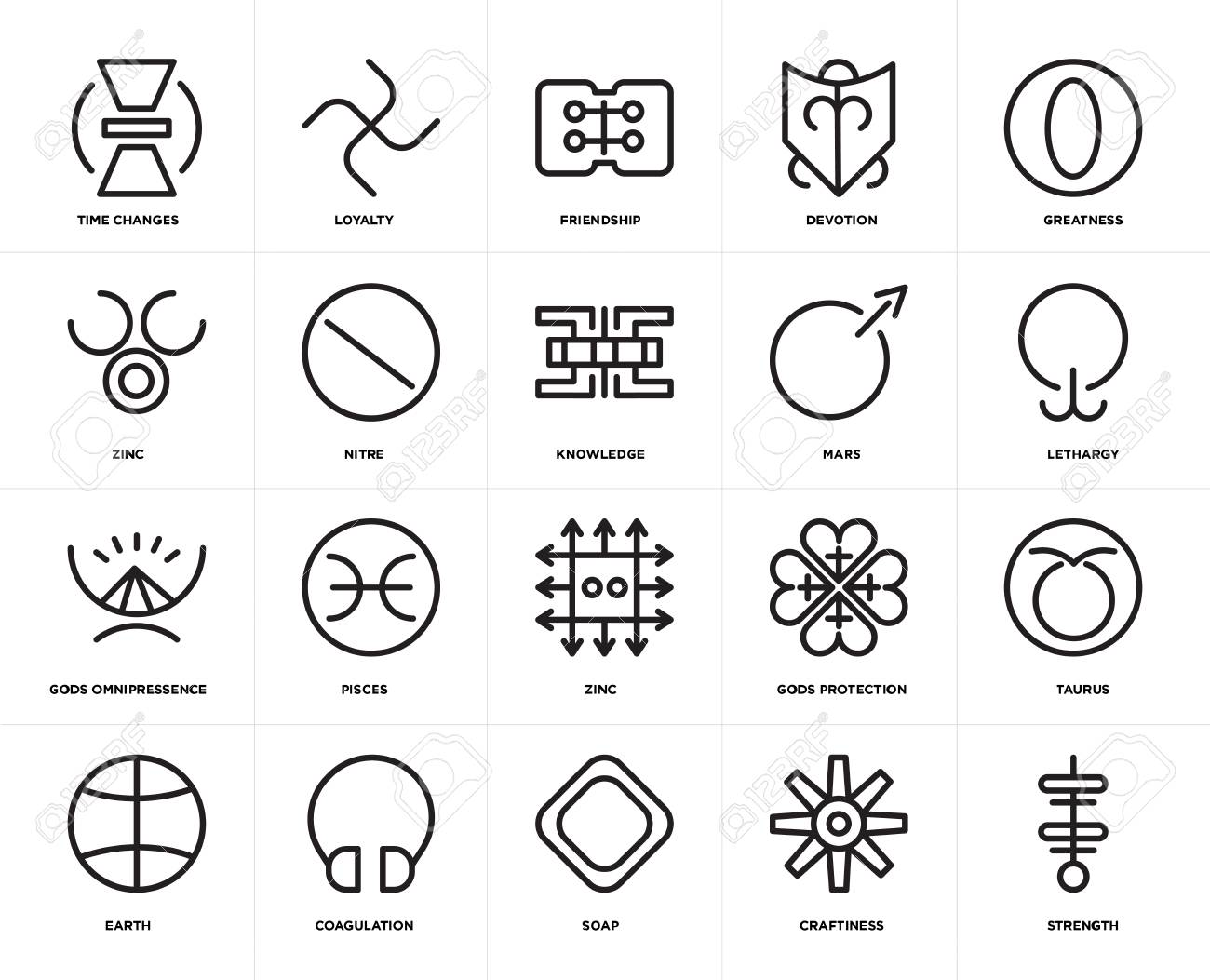 Set Of 20 icons such as Strength, Craftiness, Soap, Coagulation,