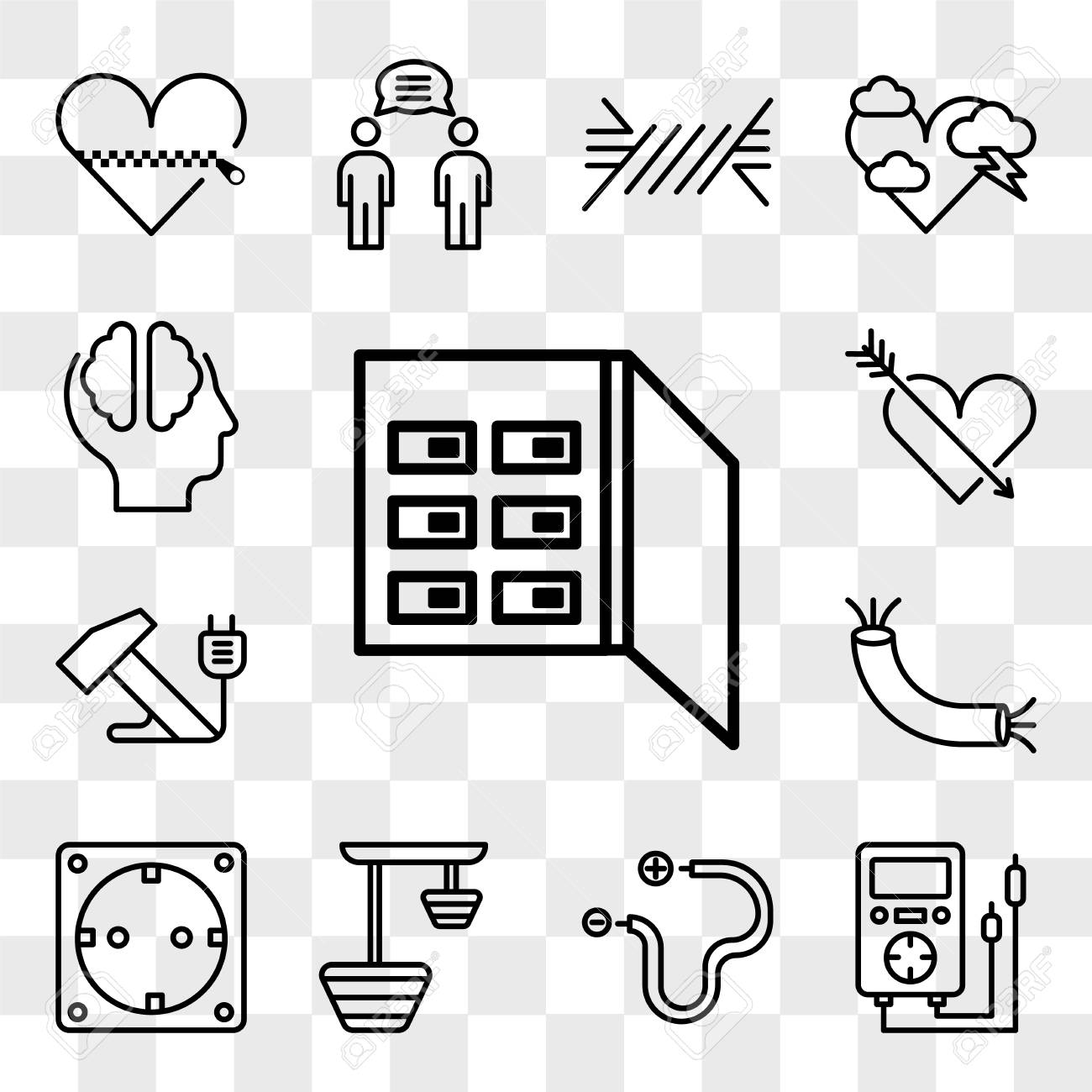 set of 13 transparent editable icons such as fuse box, voltmeter, wire, lamp