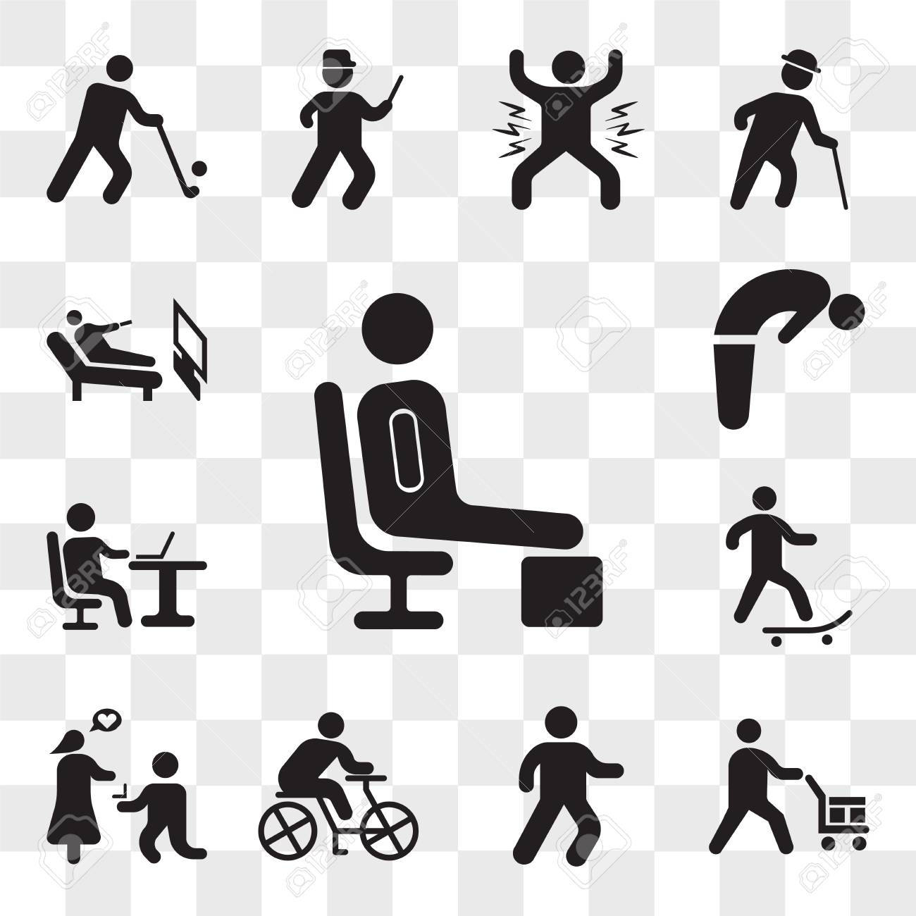 Set Of 13 transparent icons such as Resting, Worker loading boxes, Man walking, Cyclist, Marry me, Skater, Working with laptop, Backbend, web ui editable icon pack, transparency set - 111893417