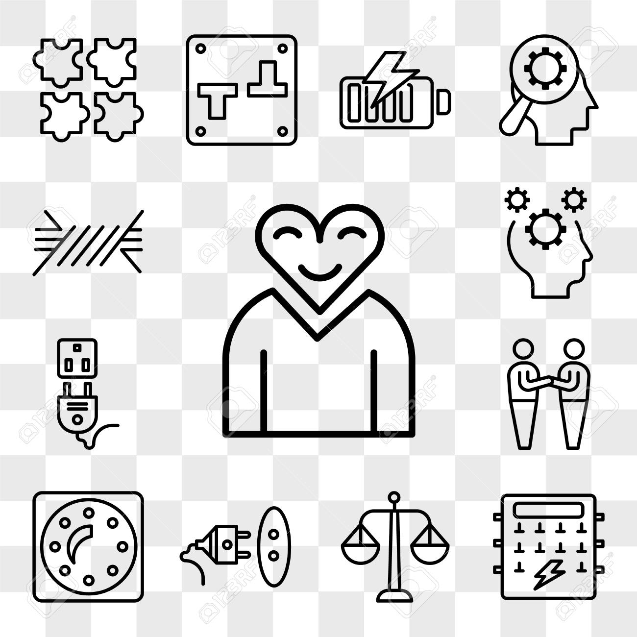 set of 13 transparent editable icons such as love, fuse box, balance, socket