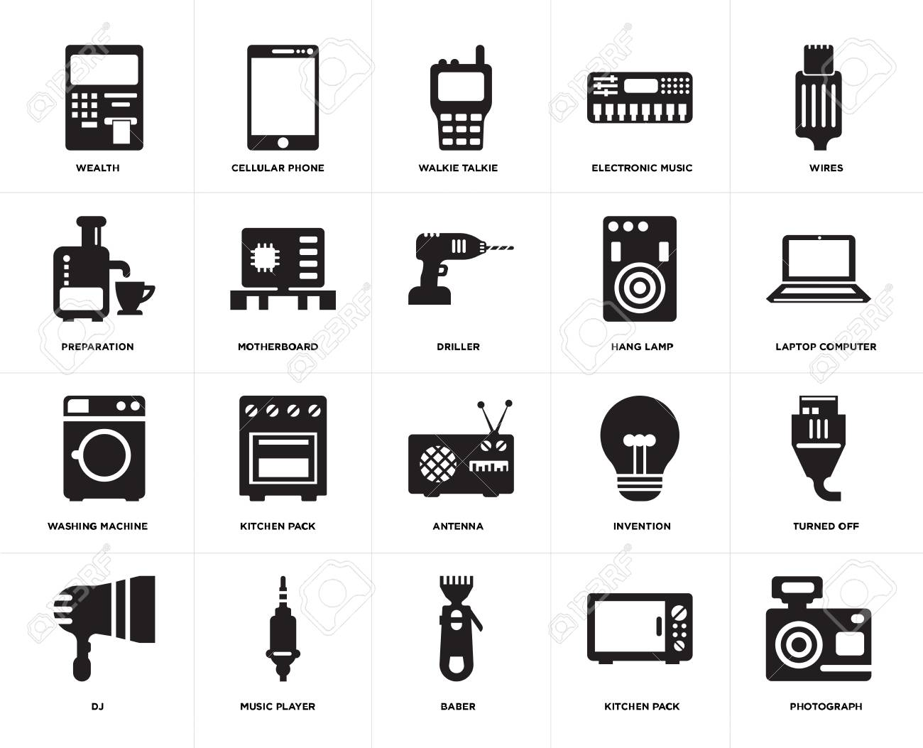 Set Of 20 icons such as Photograph, Kitchen pack, Baber, Music