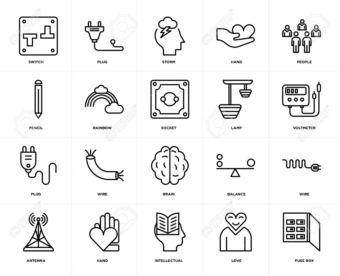 set of 20 icons such as fuse box, love, intellectual, hand, antenna
