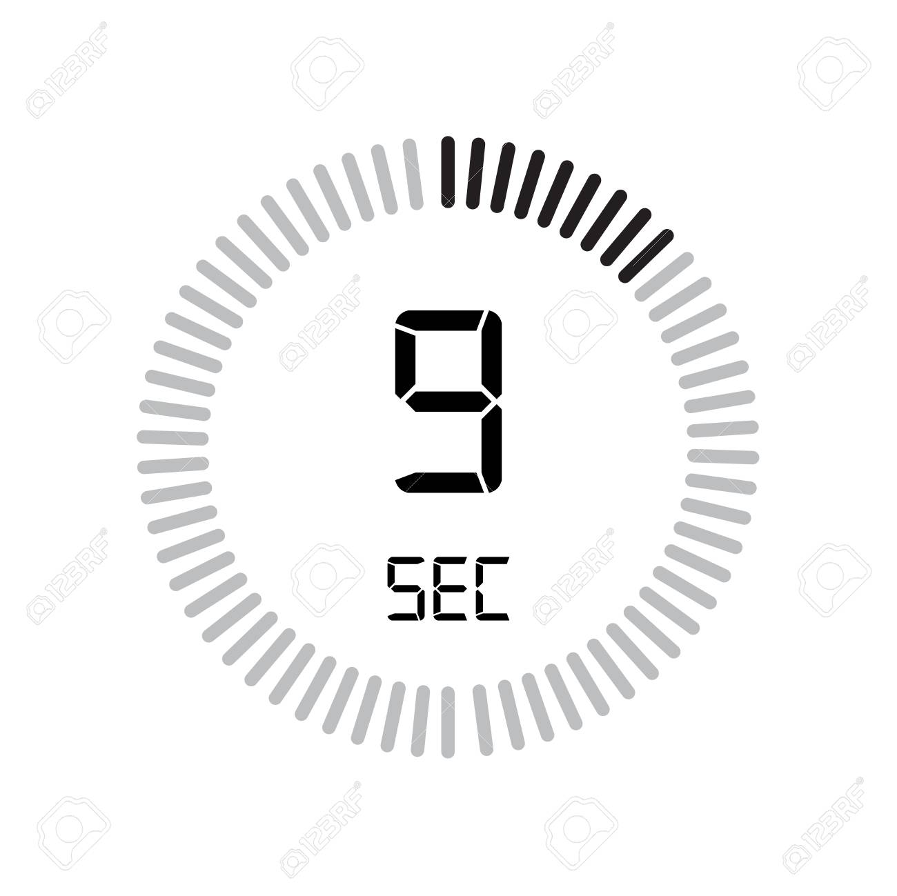 The 9 Seconds Icon, Digital Timer  Clock And Watch, Timer, Countdown