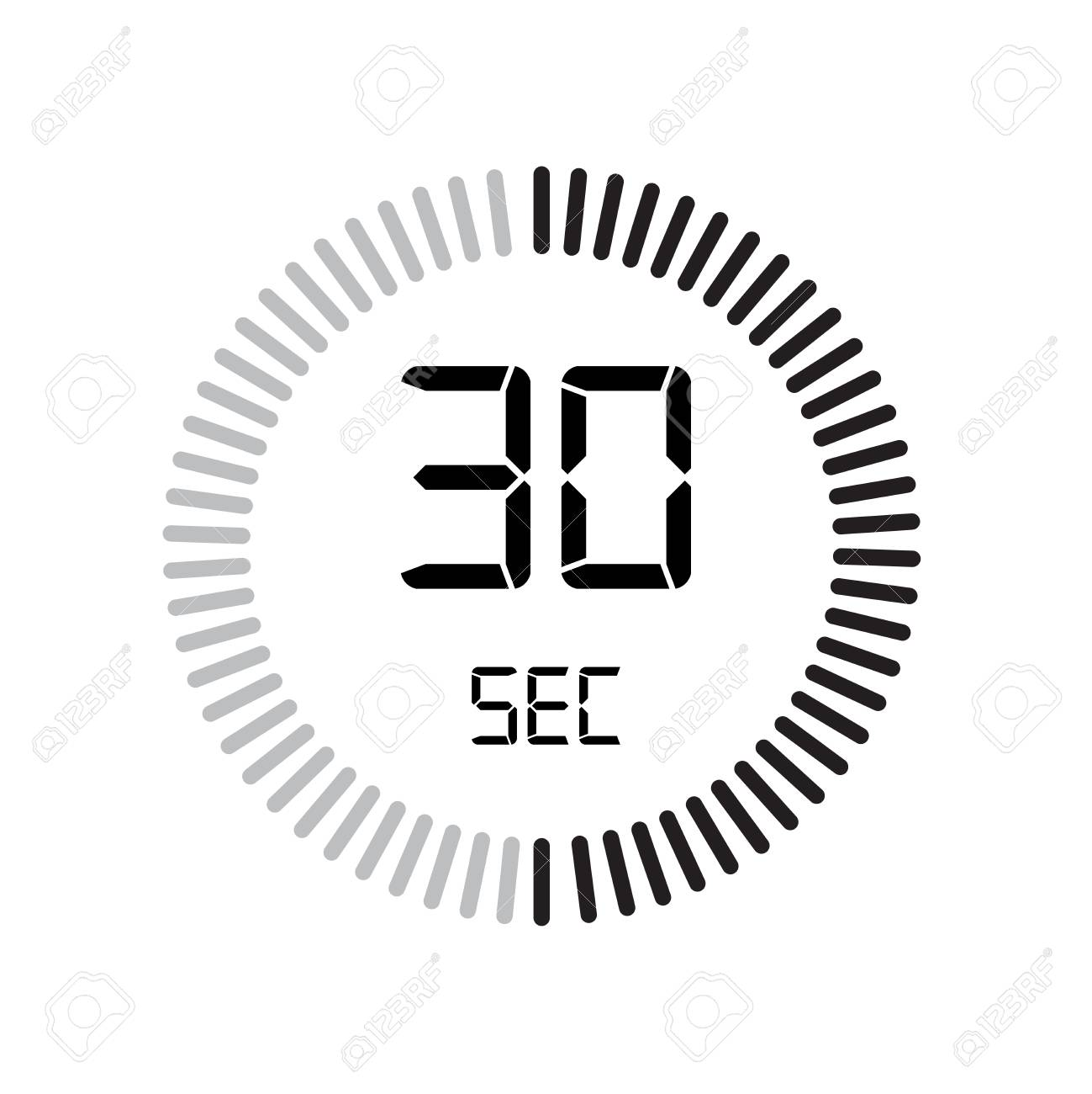 The 30 seconds icon, digital timer. clock and watch, timer, countdown symbol isolated on white background, stopwatch vector icon - 107408067