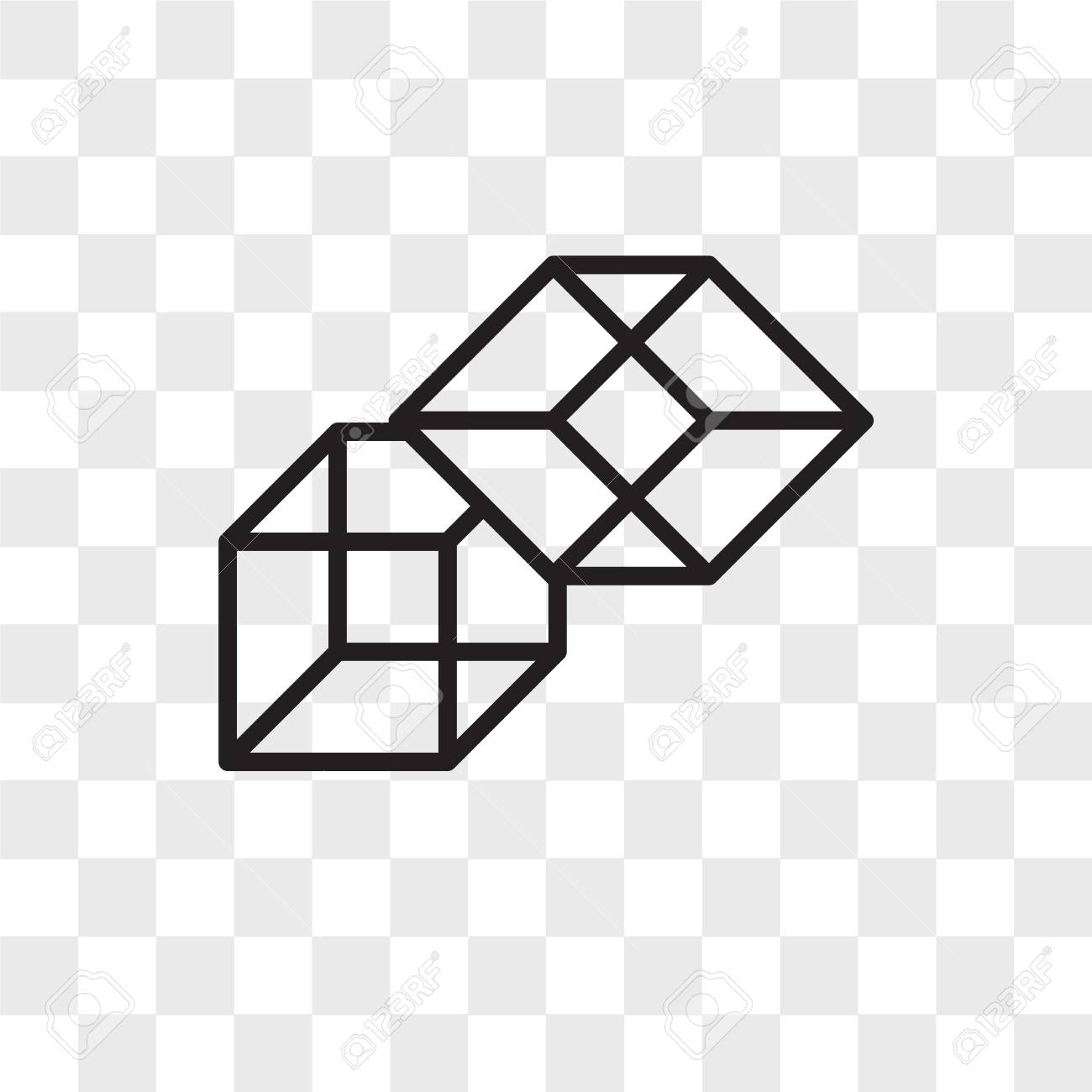 3d cube vector icon isolated on transparent background, 3d cube