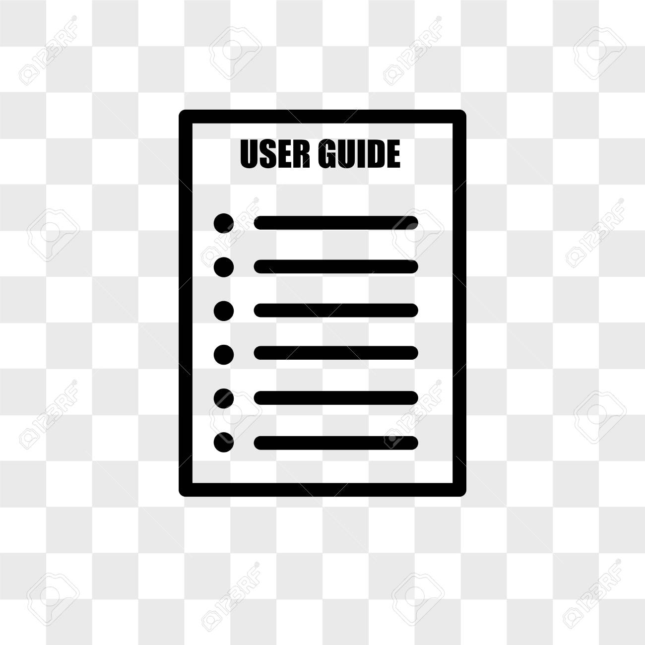 user guide vector icon isolated on transparent background, user guide logo  concept Stock Vector -