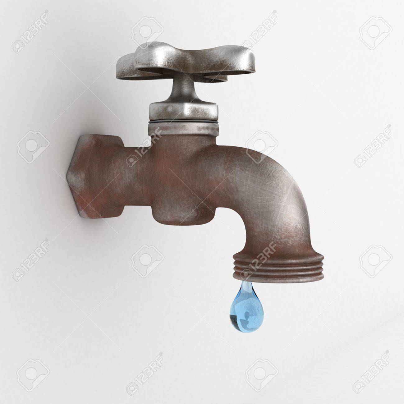 Dripping Tap With Drop On White Background Stock Photo, Picture And ...
