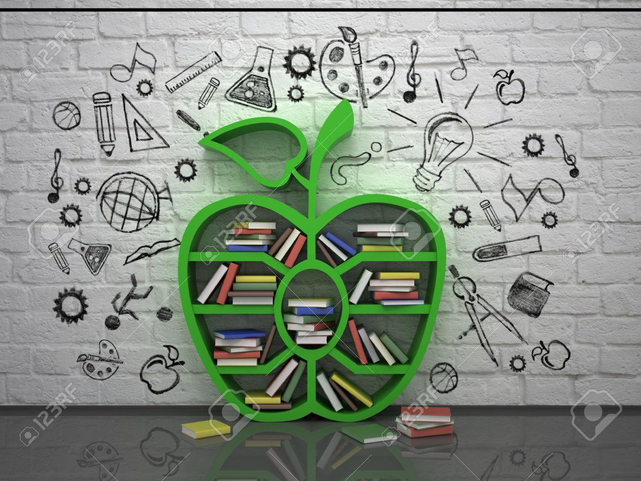 Tagere De Livre En Forme De Pomme Et Le Concept Dessin 3d