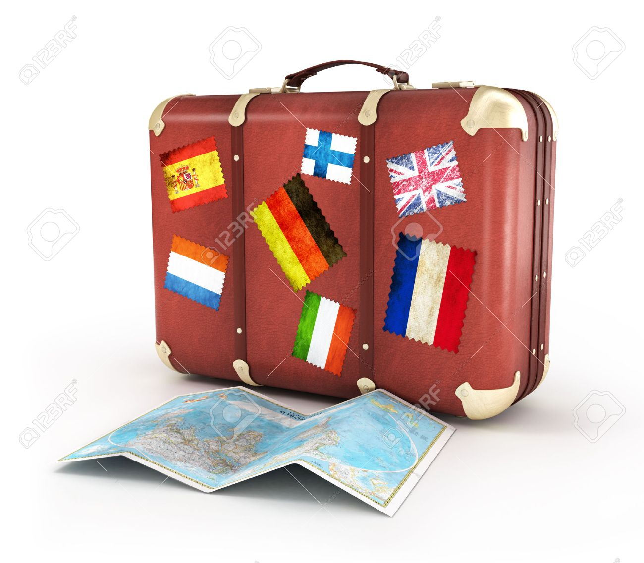 Old suitcase with world map and striples flags on white background old suitcase with world map and striples flags on white background stock photo 28281662 gumiabroncs Image collections