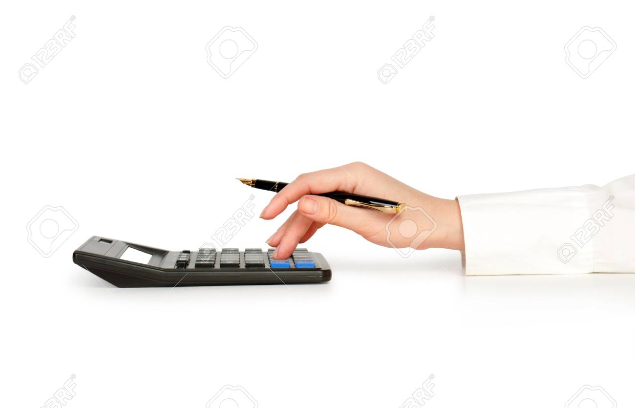 hand typing on calculator isolated opn white Stock Photo - 29784451