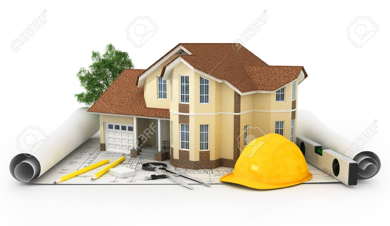 3D Rendering Of A House With Garage On Top Of Blueprints Stock Photo    29323975