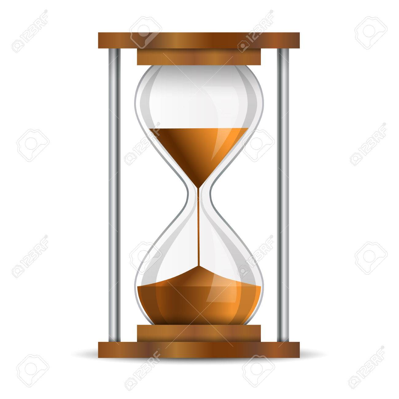 sand timer art. true transparent sand hourglass isolated on white background simple and elegant sandglass timer art