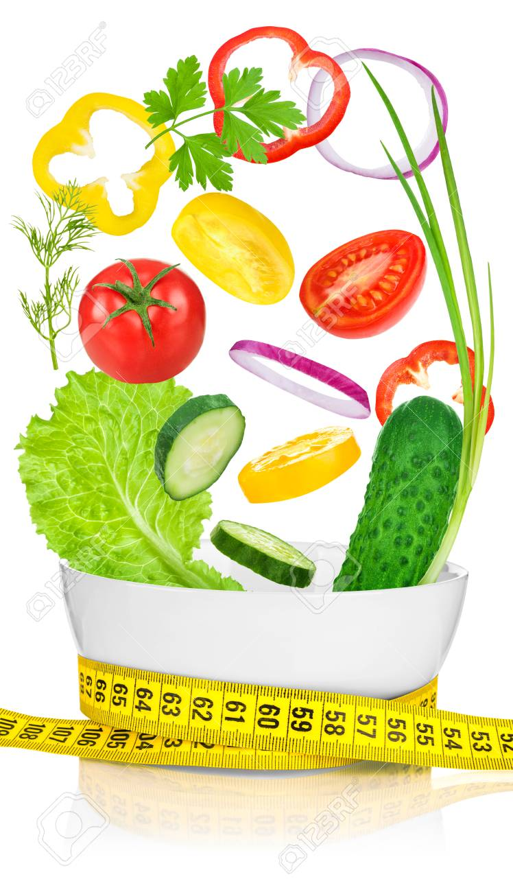 Miraculous Vegetables For Weight Loss In A White Bowl Wrapped With A Measuring Download Free Architecture Designs Scobabritishbridgeorg