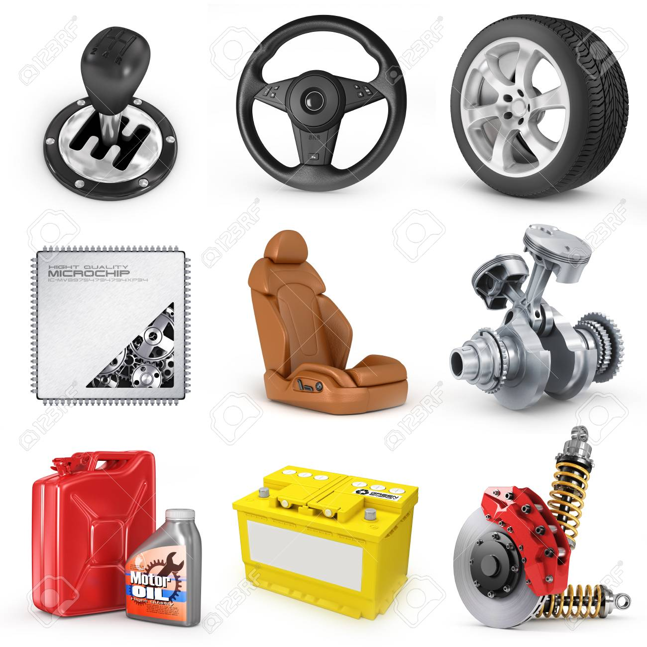 Set Of Parts Of Car 3d Render Icons Stock Photo Picture And Royalty Free Image Image 32959897