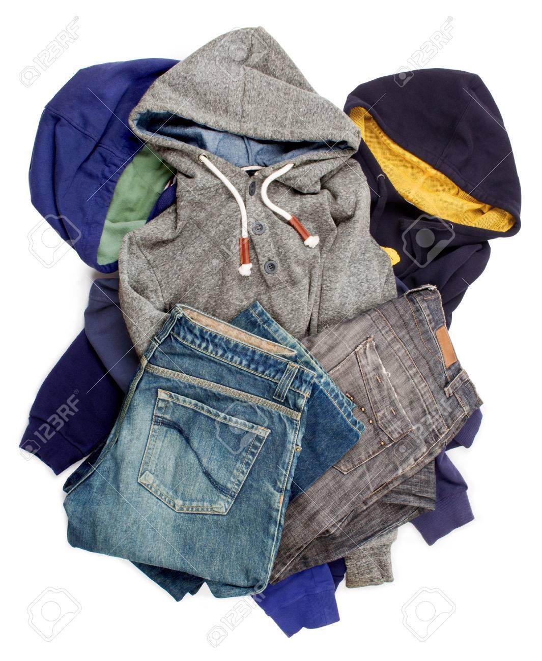 6bd4eb8304 Colección de ropa masculina aislado en blanco Foto de archivo - 33016101