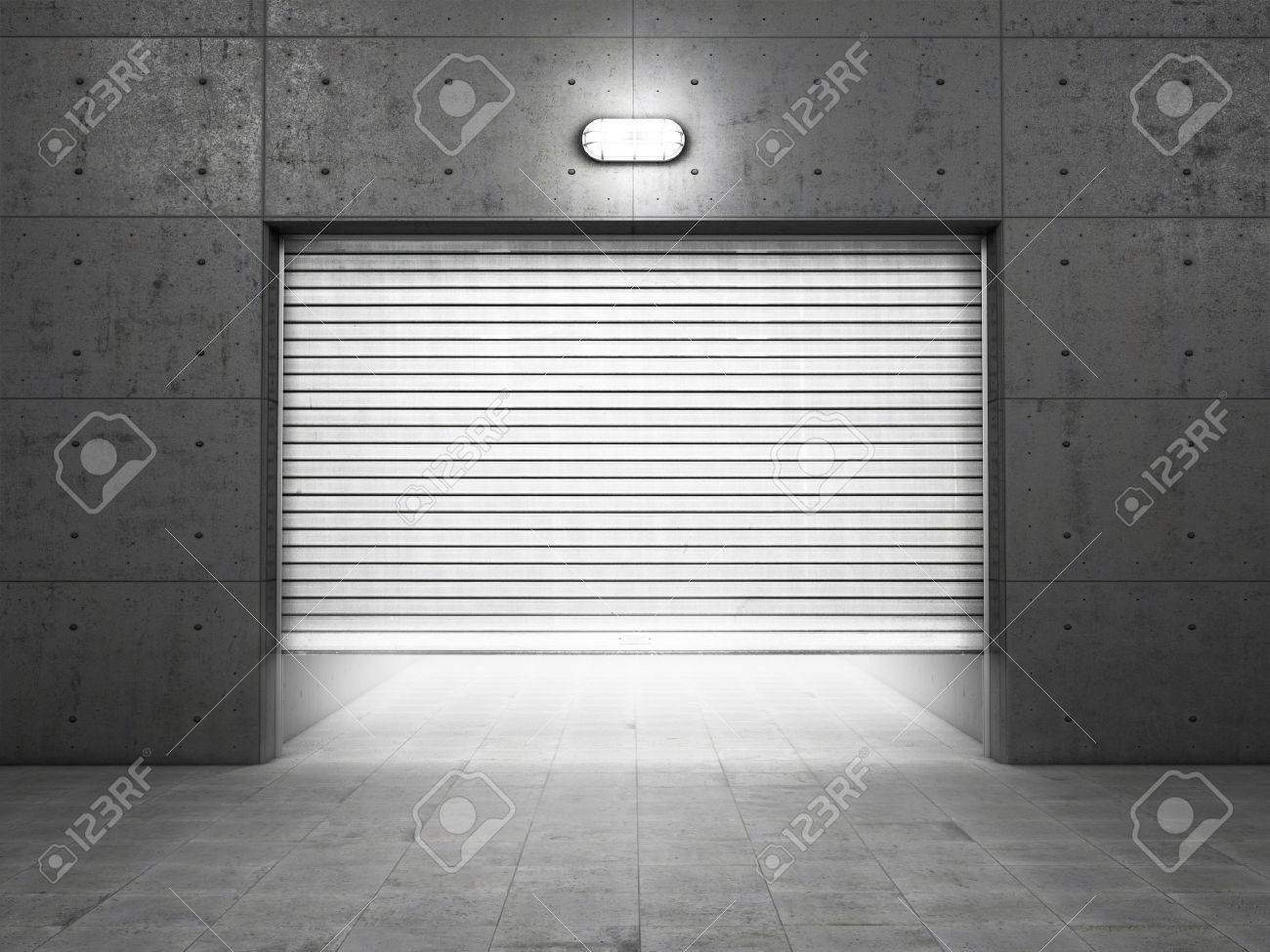 garage building made of concrete with roller shutter doors stock photo
