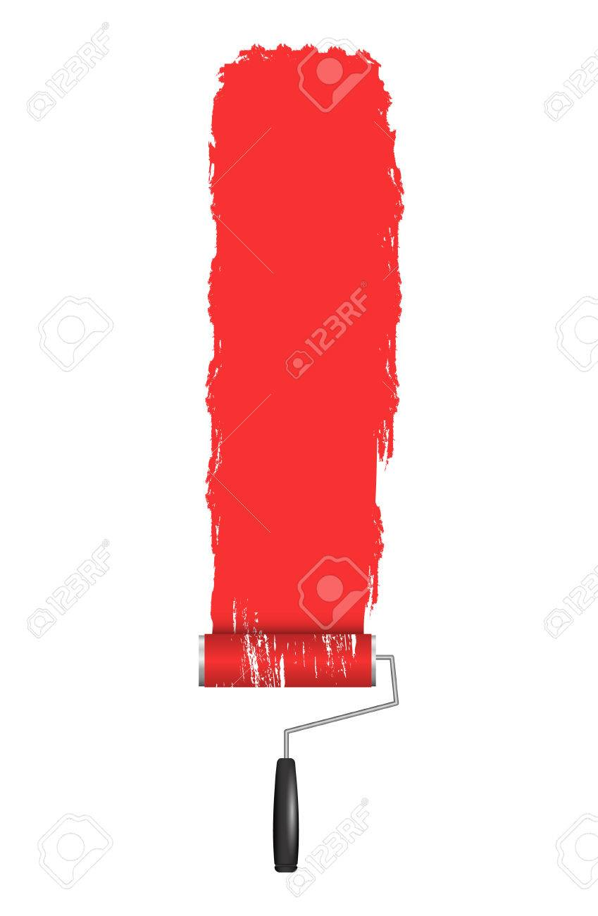 Red Roller Brush Painting on Wall  Various Paint Strokes on White