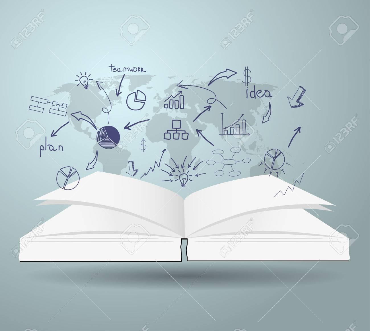 Libro Con Las Cartas De Dibujo Y Gráficos Estrategia De Negocio ...