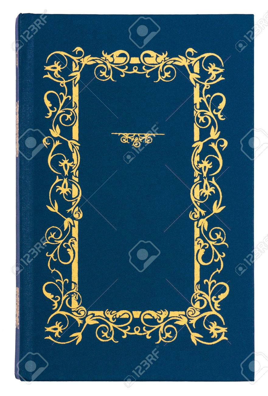 Blue With Gold Pattern Vintage Book Cover Isolated On White ...